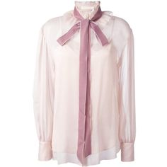 See By Chloé velvet collar blouse (1,575 SAR) ❤ liked on Polyvore featuring tops, blouses, pink, pink sheer blouse, see through blouse, sheer blouse, see by chloe blouse and see through tops