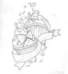 tattoo-vorlagen-motiv-cupcakes-sterne-schleifen