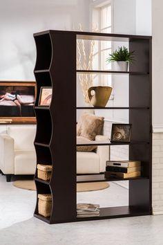 Modern Media Bookcase! A Sexy Space-Saver Loft Inspired Open Bookshelf w/ Side Panel Storage