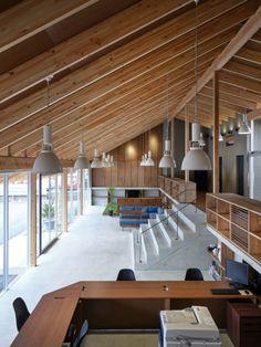reinterpret of the foundation Loft Interior Design, Interior Photo, Cafe Interior, Interior Decorating, Morden House, Contemporary Building, Japanese Interior, Modern Buildings, Ceiling Design