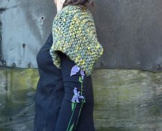 Leaves Shrug in forest greens hand knitted in wool by InnerWild, £46.00
