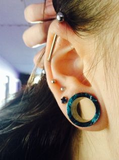 """9/16"""" Acrylic Teal Blue Marble Double Flare Tunnel 