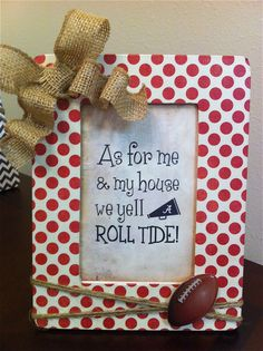 Polka Dot Alabama Football Picture Frame on Etsy, $9.00