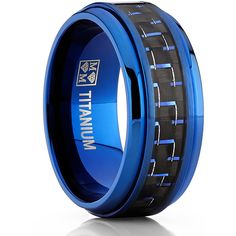 Oliveti Titanium and Carbon Fiber Men's Black and Blue Comfort Fit 9mm... ($35) ❤ liked on Polyvore featuring men's fashion, men's jewelry, men's rings, black, mens rings, mens titanium rings, mens blue wedding rings, mens diamond band wedding ring and mens watches jewelry