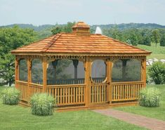 Exterior Exterior In Vogue Single Roof Rectangle Enclosed Gazebo Wooden Fencing As Decorate Outdoor Gardening Alluring Enclosed Awesome Concept Design Exterior Roofing Ideas Hot Tub Gazebo, Outdoor Gazebos, Backyard Gazebo, Diy Pergola, Outdoor Gardens, Backyard Landscaping, Wedding Backyard, Diy Patio, Pergola Kits