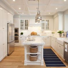 Kitchen Peninsula Opens to Family Room - Transitional - Kitchen