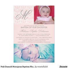Convite cor-de-rosa da foto do baptismo do