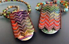 jana roberts-benzon Stunning necklace pendants in graduated jewel and rainbow…