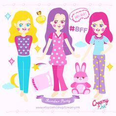Slumber party clip art featuring three cute girls wearing pajamas, pillow, eye mask and more. #clipart #vector #design See more at CreamyInk.etsy.com
