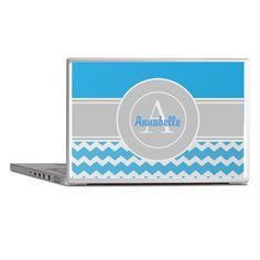 Blue Gray Chevron Monogram Laptop Skins