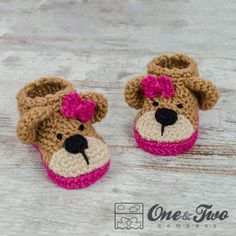 Teddy Bear Booties - Baby Sizes - Crochet Pattern by One and Two Company