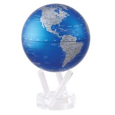 MOVA Cobalt Blue and Silver Rotating Globe | House of Globes