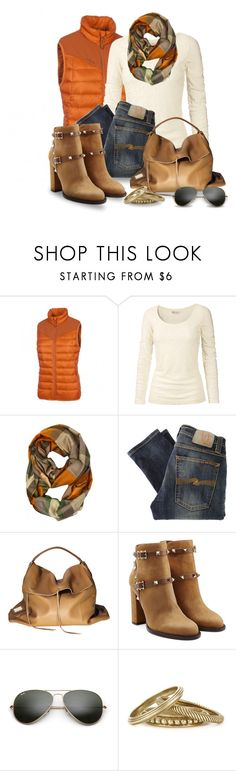 """Burnt Orange Puffer Vest"" by snickersmother ❤ liked on Polyvore featuring Salewa, Fat Face, Nudie Jeans Co., Lukas Gschwandtner, Benjamin Moore, Valentino, Ray-Ban and Tory Burch"
