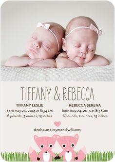 """Our """"Precious Pair"""" birth announcement for girls."""