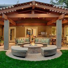 Hinterhof-Landschaftsbau-Ideen-Reihe - Patio-Design-Ideen Backyard Landscaping Idea Series - Patio D Backyard Covered Patios, Backyard Patio Designs, Modern Backyard, Pergola Patio, Backyard Landscaping, Pergola Ideas, Landscaping Ideas, Backyard Cookout, Pergola Shade