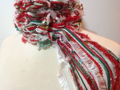 The Pippy CHRISTMAS Scarf  Greens Reds Silver and by sewstacy, $20.00