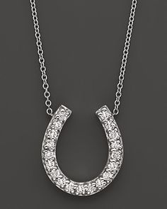 Horseshoe Diamond Pendant Necklace in 14K White Gold, 0.20 ct.t.w. | Bloomingdale's