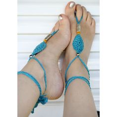 Barefoot Sandals, Crochet Barefoot Sandals, Nude shoes, Wedding Beach... ($15) ❤ liked on Polyvore featuring shoes, sandals, sexy anklet, beach anklets, yoga sandals, crochet beach sandals and crochet shoes