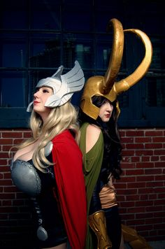 Thor + Loki. I think @Aimée Gillespie Siebert and I should do this for Halloween. A blonde and brunette sibling, one adopted :D