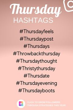 Use these Hashtags on Thursday to reach more people and your desired Audience. Follow us for more instagram Hashtags and visit this pin to know instagram strategies that works for you. #businessmarketing #instagram #instagramhashtags #hashtags #instagramgrowth #marketing #socialmedia Instagram Hashtags For Likes, Like Instagram, Instagram Life, Instagram Ideas, Instagram Story, 10k Instagram Followers, How To Get Followers, Social Media