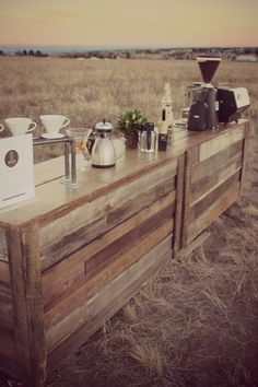 More pallet ideas at http://pinterest.com/wineinajug/passion-for-pallets/ Outdoor coffee bar setup made from upcycled wooden pallets. Pallet wedding reception ideas.