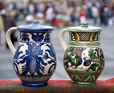 Photo about Two traditional romanian jugs exposed at a pottery fair from Sibiu. Image of articrafts, decorative, archeology - 17587971 Romanian Wedding, Contemporary Decorative Art, Beautiful Places In The World, Naive Art, Art Google, Flower Art, Folk Art, Rustic, Stock Photos