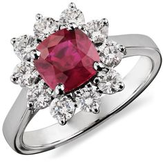 Blue Nile Ruby and Diamond Ring in 18k White Gold ($7,000) ❤ liked on Polyvore