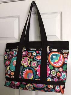 Lesportsac Large Travel Tote Weekender Gym Bag Flower Drops Pink Black 138