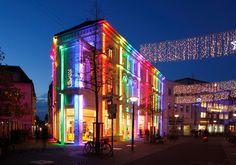 Heiligengeiststrasse in Oldenburg - Colorful Illuminated House at Dusk, Oldenburg in Oldenburg, Germany  I Bunt Illuminiertes Haus in der Fußgängerzone Heiliggeiststrasse bei Abenddaemmerung , Oldenburg in Oldenburg, Niedersachsen, Deutschland