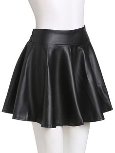 Black Faux Leather Elastic Waist Flare SkirtFor Women-romwe - Black Faux Leather Elastic Waist Flare SkirtFor Women-romwe Source by - Edgy Outfits, Teen Fashion Outfits, Skirt Outfits, Dress Skirt, Cool Outfits, Cute Skirts, Mini Skirts, Swing Rock, Kleidung Design