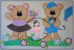 Painel decorativo em eva Ursos.  Com ursos medindo 60cm.