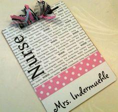 Cute school nurse clip board!