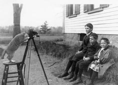 The Payro family cat directs a portrait of the Payro children, Wakefield, Massachusetts 1909.