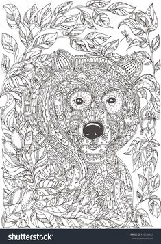 Bear in bushes with ethnic floral doodle pattern. Coloring page - zendala, design for spiritual relaxation for adults, vector illustration, isolated on a white background. Zen doodles.