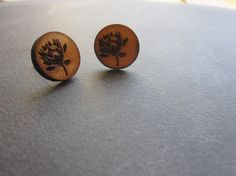 Round protea wooden earring with non allergenic by NetnKameel, $12.00
