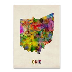 Amazon.com: Trademark Fine Art Ohio Map by Michael Tompsett Canvas Wall Art, 18 by 24-Inch: Prints: Oil Paintings