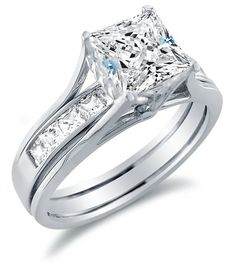 Engagement Ring with Matching Channel Set Wedding Band