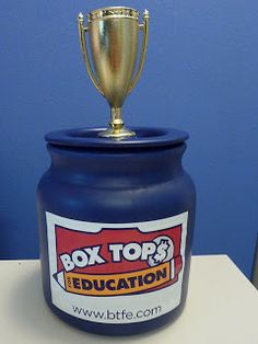 I Blame My Mother: #boxtops Traveling Trophy - prize container below the trophy for the monthly class winner
