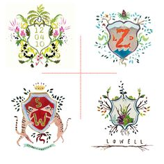 Custom Wedding Watercolor Crest