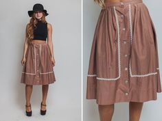 Brown skirt Vintage 70s HIPPIE bohemian lace 1970s by Raxclothing
