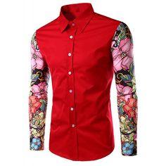 Stylish Turn-Down Collar Floral Print Spliced Long Sleeve Men's Shirt