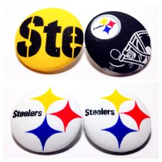 Oversized Pittsburgh Steelers Print Button Earrings by AncientBrand on Etsy