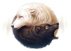 Yin and Yang - Signed Fine Art Giclee Print - Wall Decor - Fantasy Wolf Painting…