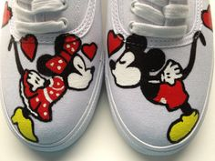 Size 7 IN STOCK  Hand Painted Mickey Mouse Minnie by PaintMop, $89.00