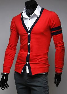 V-Neck Casual Cardigan Sweater Coat Streetwear New Mens Fashion, Gents Fashion, Camisa Uv, Sweater Coats, Men Sweater, Streetwear, Moda Casual, Knitwear Fashion, Ideias Fashion