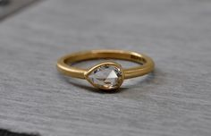 Rose Cut Pear White Sapphire Ring by One Stone