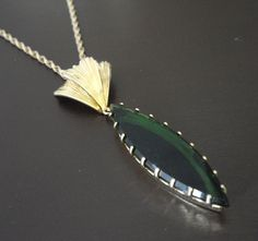 Green Glass Vintage Pendant by LisaWitmerCollection on Etsy, $16.00