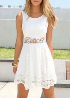 Lace Splicing Solid White Sleeveless Dress  on sale only US$18.51 now, buy cheap Lace Splicing Solid White Sleeveless Dress  at modlily.com