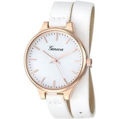 Geneva Analog Display Quartz White Watch (125 DKK) ❤ liked on Polyvore featuring jewelry, watches, white jewelry, quartz jewelry, quartz movement watches, water resistant watches and quartz watches