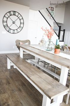 Farmhouse style is so hot right now but who wants to pay the big bucks for a table? Build your own DIY Farmhouse Table and finish it yourself!